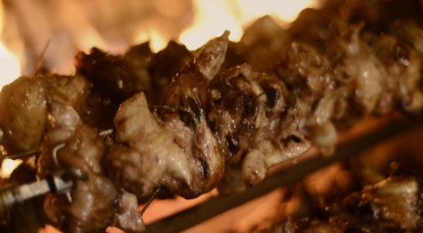 Spit-roasted quails