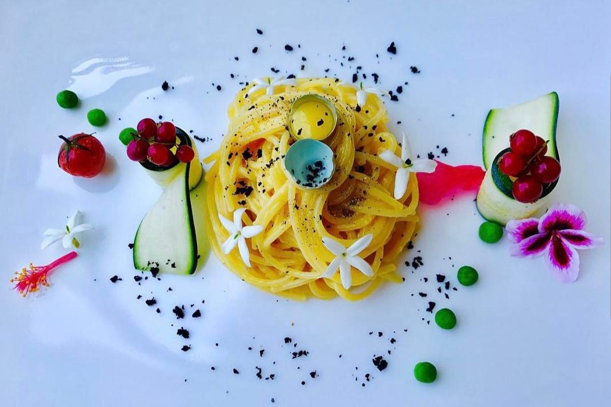 spaghetti alla carbonara con uova di quaglia